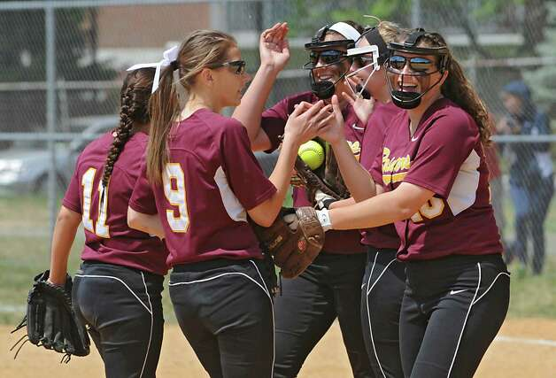 Colonie's infield starts the beginning of a new inning during a Class AA quarterfinal softball game against Guilderland on Friday, May 22, 2015 in Colonie, N.Y. (Lori Van Buren / Times Union) Photo: Lori Van Buren / 00031969A