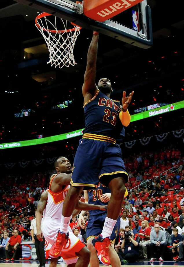 ATLANTA, GA - MAY 22:  LeBron James #23 of the Cleveland Cavaliers shoots against the Atlanta Hawks in the first quarter during Game Two of the Eastern Conference Finals of the 2015 NBA Playoffs at Philips Arena on May 22, 2015 in Atlanta, Georgia. NOTE TO USER: User expressly acknowledges and agrees that, by downloading and or using this Photograph, user is consenting to the terms and conditions of the Getty Images License Agreement.  (Photo by Kevin C. Cox/Getty Images) ORG XMIT: 554941739 Photo: Kevin C. Cox / 2015 Getty Images