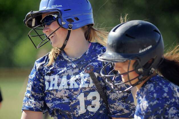 Shaker's Allie Lajeunesse, left, and Tammy Callahan are all smiles when they cross home plate during their softball game against Bethlehem on Friday, May 22, 2015, at Shaker High in Latham, N.Y. (Cindy Schultz / Times Union) Photo: Cindy Schultz / 00031940A