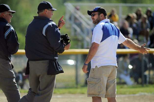 Shaker's assistant coach Scott McIntyre, right, disputes a call during their softball game against Bethlehem on Friday, May 22, 2015, at Shaker High in Latham, N.Y. (Cindy Schultz / Times Union) Photo: Cindy Schultz / 00031940A