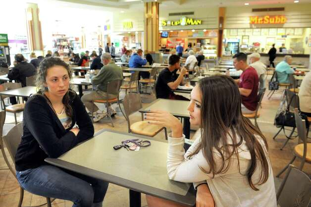 Caroline Bablin, left, and her sister Rebecca Bablin, both of Altamont, at lunchtime in the food court on Wednesday, May 20, 2015, at Colonie Center in Colonie, N.Y. (Cindy Schultz / Times Union) Photo: Cindy Schultz / 00031908A
