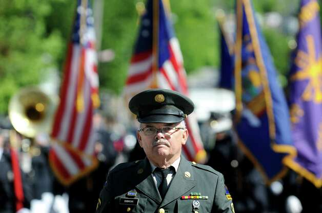 Vietnam War veteran Bill Dobroski leads the Union Fire Co. 2 Band in the Ballston Spa Memorial Day Parade on Saturday, May 23, 2015, in Ballston Spa, N.Y. (Cindy Schultz / Times Union) Photo: Cindy Schultz / 00031958A