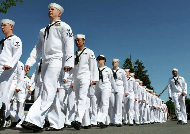 Naval Nuclear Power Training Union sailors march during the Ballston Spa Memorial Day Parade on Saturday, May 23, 2015, in Ballston Spa, N.Y. (Cindy Schultz / Times Union) Photo: Cindy Schultz / 00031958A