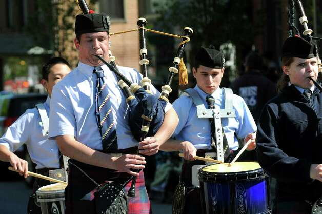 The Scotia-Glenville Pipe Band performs during the Ballston Spa Memorial Day Parade on Saturday, May 23, 2015, in Ballston Spa, N.Y. (Cindy Schultz / Times Union) Photo: Cindy Schultz / 00031958A