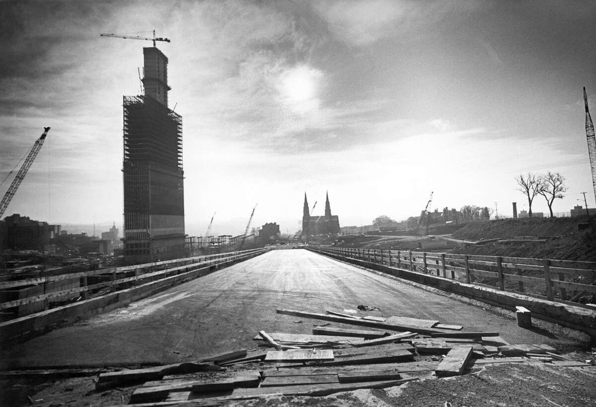 Madison Avenue looking east during construction of Empire state Plaza. (Courtesy Mary Paley) ORG XMIT: MER2015052114162395