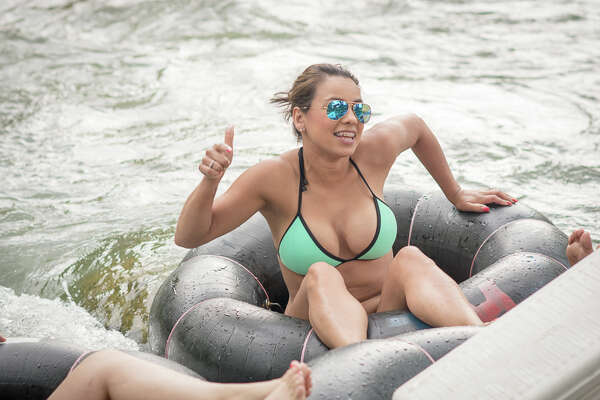 The threat of severe weather did not stop these intrepid water enthusiasts from hitting the Comal River for some old fashioned Texas tubing.