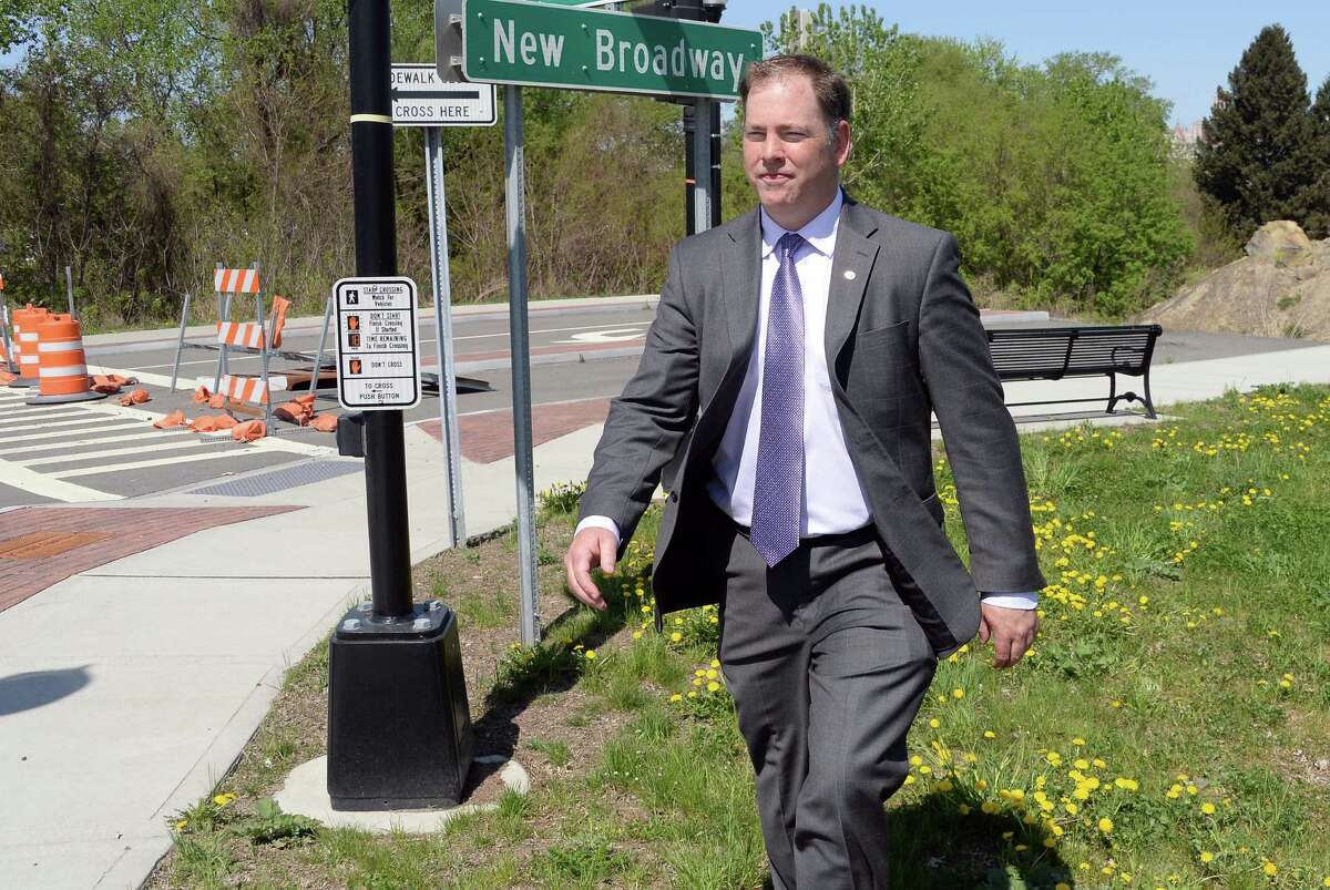 Rensselaer director of planning and development Charles Moore at the entrance to the incomplete New Broadway Thursday May 7, 2015 in Rensselaer, NY. (John Carl D'Annibale / Times Union)