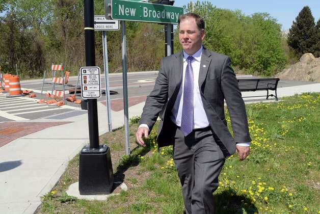 Rensselaer director of planning and development Charles Moore at the entrance to the incomplete New Broadway Thursday May 7, 2015 in Rensselaer, NY.  (John Carl D'Annibale / Times Union) Photo: John Carl D'Annibale / 00031755A