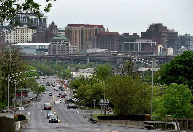 Looking east from the top of the Columbia Street hill Tuesday morning May 12, 2015 in Rensselaer, N.Y.    (Skip Dickstein/Times Union) Photo: SKIP DICKSTEIN / 00031793A