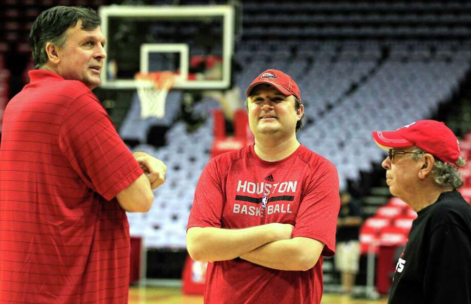 Coach Kevin McHale left, knows a lot of the credit for the Rockets' success must go to general manager Daryl Morey, who landed stars and added proven veterans. Photo: James Nielsen, Staff / © 2015  Houston Chronicle