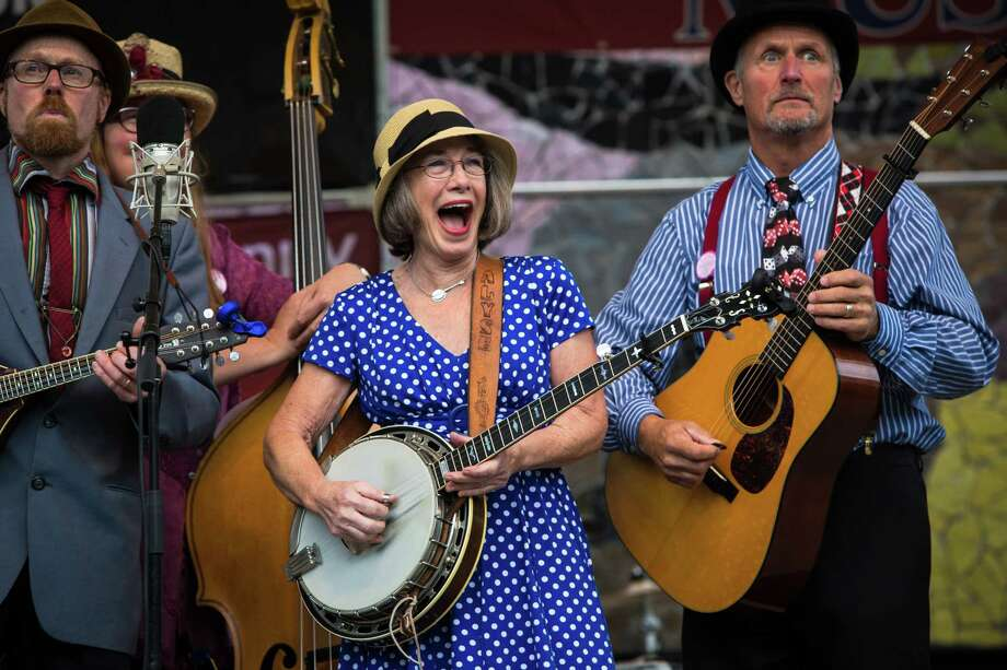 Members of Pickled Okra perform onstage during the 44th annual Northwest Folklife Festival at the Seattle Center on Saturday, May 23, 2015. Photo: DANIELLA BECCARIA, SEATTLEPI.COM / SEATTLEPI.COM