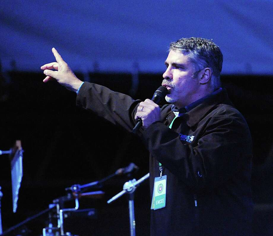 Howard Stern Radio producer, Gary Dell'Abate of Greenwich, speaks during the Greenwich Town Party at Roger Sherman Baldwin Park, Greenwich, Conn., Saturday, May 23, 2015. Photo: Bob Luckey / Greenwich Time