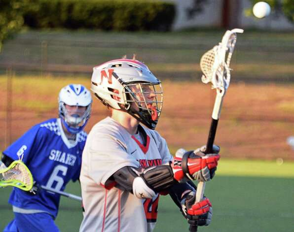Niskayuna's #22 James Sexton, right, passes during the Section II Class A boys' lacrosse final against Shaker at John Fallon Field Saturday May 23, 2015, in Albany, NY. (John Carl D'Annibale / Times Union)(John Carl D'Annibale / Times Union) Photo: John Carl D'Annibale / 00031877A