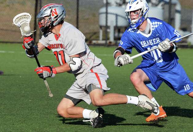 Niskayuna's #11 John Prendergast, left, and Shaker's #10 Brendon Closs during the Section II Class A boys' lacrosse finalat John Fallon Field Saturday May 23, 2015, in Albany, NY. (John Carl D'Annibale / Times Union)(John Carl D'Annibale / Times Union) Photo: John Carl D'Annibale / 00031877A