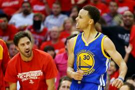 HOUSTON, TX - MAY 23:  Stephen Curry #30 of the Golden State Warriors reacts in the third quarter against the Houston Rockets during Game Three of the Western Conference Finals of the 2015 NBA PLayoffs at Toyota Center on May 23, 2015 in Houston, Texas. (Photo by Ronald Martinez/Getty Images)