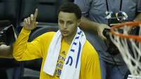Golden State Warriors guard Stephen Curry walks of the court after the Warriors win over the Houston Rockets in Game 3 of the NBA Western Conference Finals at Toyota Center on Saturday, May 23, 2015, in Houston. ( Karen Warren / Houston Chronicle )