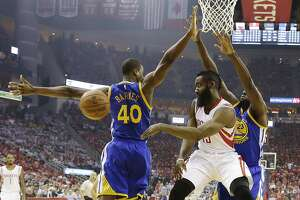 Warriors use tag-team approach to stifle James Harden - Photo