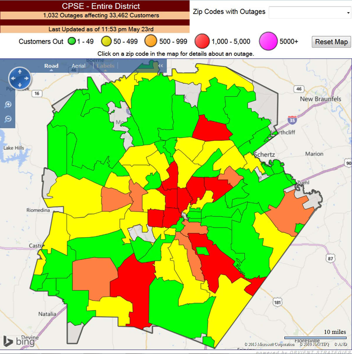 CPS outage map.