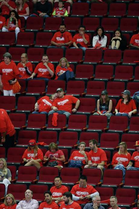 With the outcome all but decided early, plenty of Rockets fans decided to beat the traffic and leave Toyota Center during the fourth quarter of Saturday's one-sided loss to Golden State. Photo: Karen Warren, Staff / © 2015 Houston Chronicle