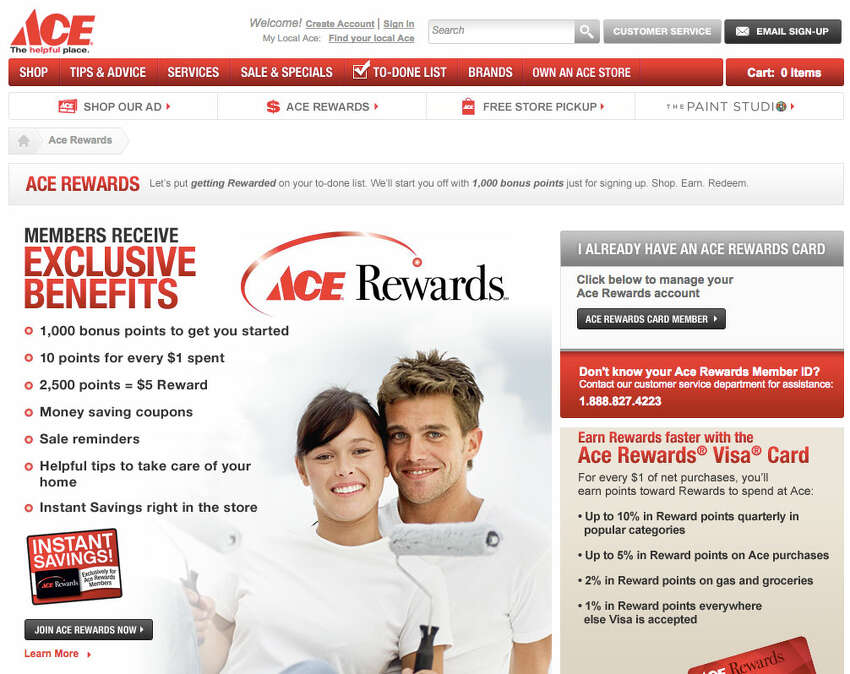 ACE Hardware : Sign up for ACE Rewards and get a $5 off $20 coupon on your birthday. http://www.acehardware.com