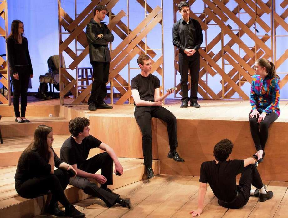 "The Staples Players' production of ""The Laramie Project"" features a cast inlcuding Zoe Samuels, Scott Yarmoff, Jacob Leaf, Rachel Corbally, Nick Ribolla (facing away from camera), Mackenzie Lavoie, James O'Brien, Keanan Pucci and Nick Ribolla. Photo: Contributed Photo / Westport News"