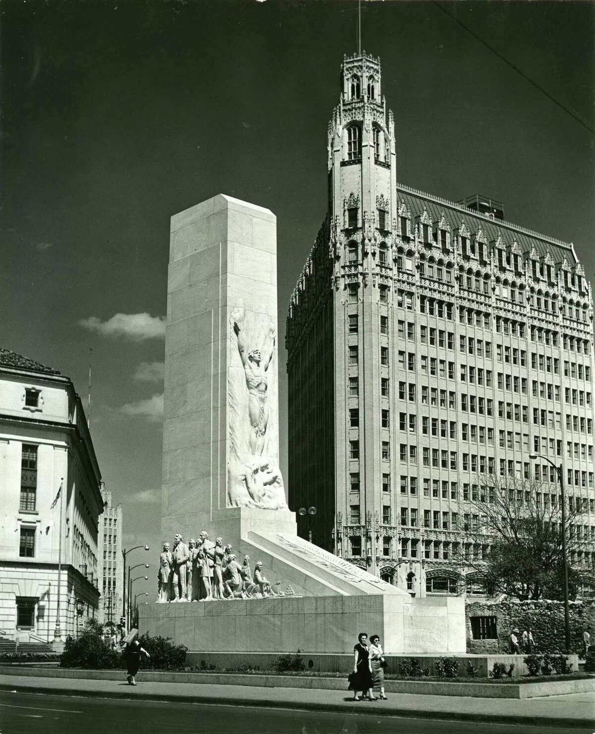 This undated photo shows the completed Alamo Cenotaph in Alamo Plaza.