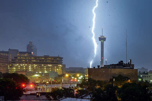 Lightning Strikes Downtown San Antonio During A Severe