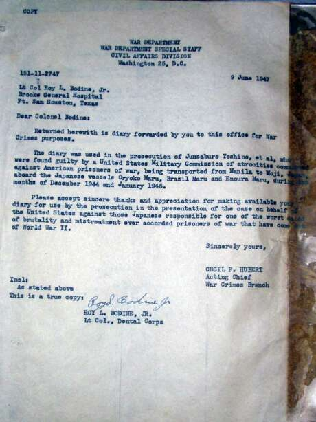 A letter from the War Department detailing how diary of Dr. Roy Bodine was used in a criminal war trial in 1947.