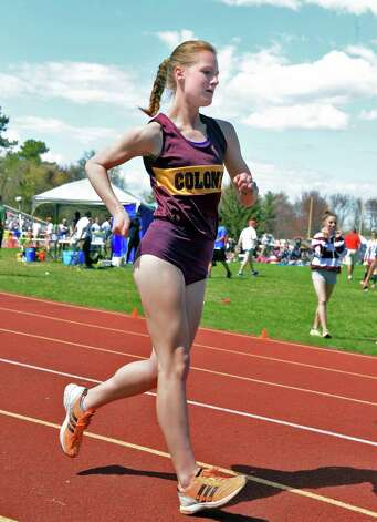 Race walker Meaghan Podlaski of Colonie High at the Colonie Relays track meet Saturday May 2, 2015 in Colonie, NY.  (John Carl D'Annibale / Times Union) Photo: John Carl D'Annibale
