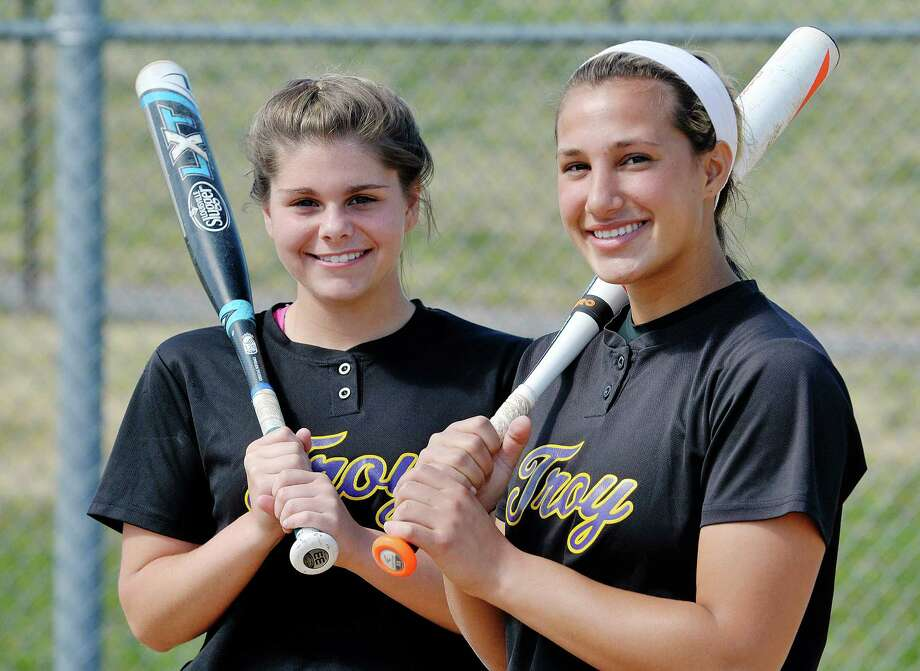 Troy High School softball players, Kaitlin Delsignore, left, and Alina Germinerio pose for a photo on Thursday, May 21, 2015, in Troy, N.Y.   (Paul Buckowski / Times Union) Photo: PAUL BUCKOWSKI / 00031938A
