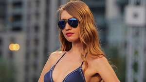 A model displays a creation part of the Italian fashion label La Perla's Spring-Summer 2015 beachwear collection, during the summer fashion week at Saint George Yacht Club, in Beirut, Lebanon, Friday, May 22, 2015.