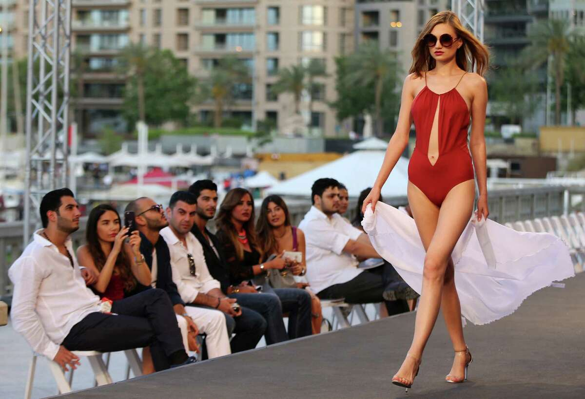A model displays a creation as part of the Italian fashion designer La Perla Spring-Summer 2015 beachwear collection, during the summer fashion week at Saint George Yacht Club, in Beirut, Lebanon, Friday, May 22, 2015.