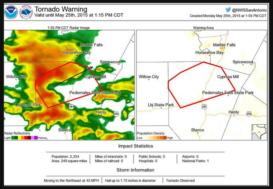 Reports of a tornado touching down in Fredericksburg has prompted a tornado warning for Gillespie County and surrounding areas.