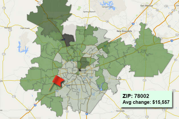 ZIP code: 78002 Data available from the Bexar Appraisal District shows how much the average residential value changed in each area ZIP code in 2015. Photo: Chris Eudaily Created Using Fusion Tables