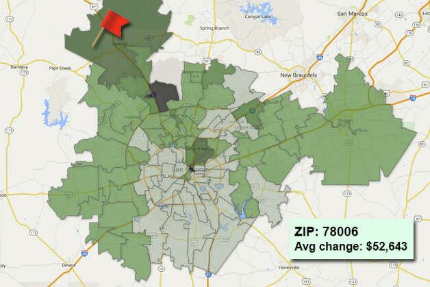 ZIP code: 78006 Data available from the Bexar Appraisal District shows how much the average residential value changed in each area ZIP code in 2015. Photo: Chris Eudaily Created Using Fusion Tables