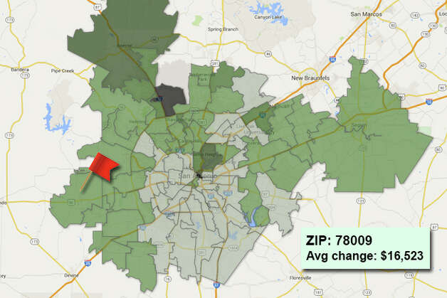 ZIP code: 78009 Data available from the Bexar Appraisal District shows how much the average residential value changed in each area ZIP code in 2015. Photo: Chris Eudaily Created Using Fusion Tables