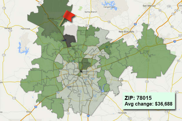 ZIP code: 78015 Data available from the Bexar Appraisal District shows how much the average residential value changed in each area ZIP code in 2015. Photo: Chris Eudaily Created Using Fusion Tables