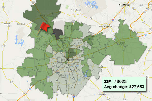 ZIP code: 78023 Data available from the Bexar Appraisal District shows how much the average residential value changed in each area ZIP code in 2015. Photo: Chris Eudaily Created Using Fusion Tables
