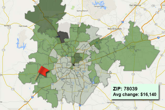 ZIP code: 78039 Data available from the Bexar Appraisal District shows how much the average residential value changed in each area ZIP code in 2015. Photo: Chris Eudaily Created Using Fusion Tables
