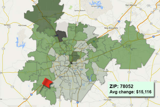 ZIP code: 78052 Data available from the Bexar Appraisal District shows how much the average residential value changed in each area ZIP code in 2015. Photo: Chris Eudaily Created Using Fusion Tables