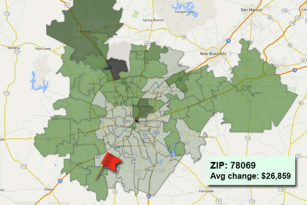 ZIP code: 78069 Data available from the Bexar Appraisal District shows how much the average residential value changed in each area ZIP code in 2015. Photo: Chris Eudaily Created Using Fusion Tables
