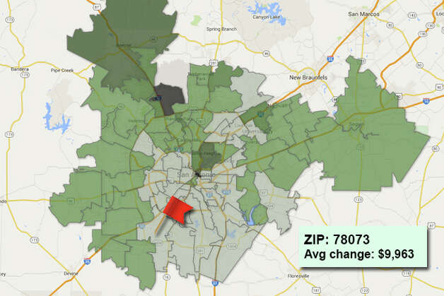 ZIP code: 78073 Data available from the Bexar Appraisal District shows how much the average residential value changed in each area ZIP code in 2015. Photo: Chris Eudaily Created Using Fusion Tables