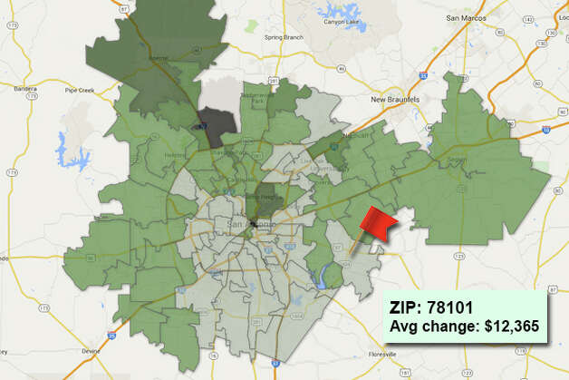 ZIP code: 78101 Data available from the Bexar Appraisal District shows how much the average residential value changed in each area ZIP code in 2015. Photo: Chris Eudaily Created Using Fusion Tables