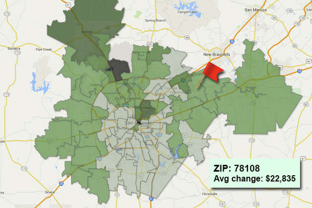 ZIP code: 78108 Data available from the Bexar Appraisal District shows how much the average residential value changed in each area ZIP code in 2015. Photo: Chris Eudaily Created Using Fusion Tables