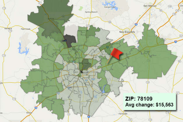 ZIP code: 78109 Data available from the Bexar Appraisal District shows how much the average residential value changed in each area ZIP code in 2015. Photo: Chris Eudaily Created Using Fusion Tables