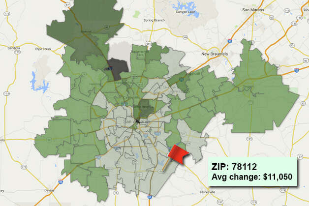 ZIP code: 78112 Data available from the Bexar Appraisal District shows how much the average residential value changed in each area ZIP code in 2015. Photo: Chris Eudaily Created Using Fusion Tables