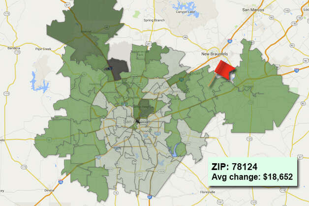ZIP code: 78124 Data available from the Bexar Appraisal District shows how much the average residential value changed in each area ZIP code in 2015. Photo: Chris Eudaily Created Using Fusion Tables