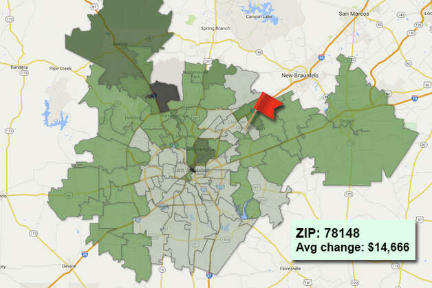 ZIP code: 78148 Data available from the Bexar Appraisal District shows how much the average residential value changed in each area ZIP code in 2015. Photo: Chris Eudaily Created Using Fusion Tables