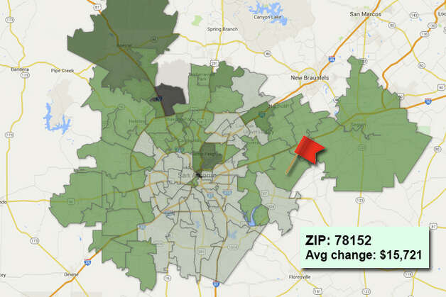 ZIP code: 78152 Data available from the Bexar Appraisal District shows how much the average residential value changed in each area ZIP code in 2015. Photo: Chris Eudaily Created Using Fusion Tables