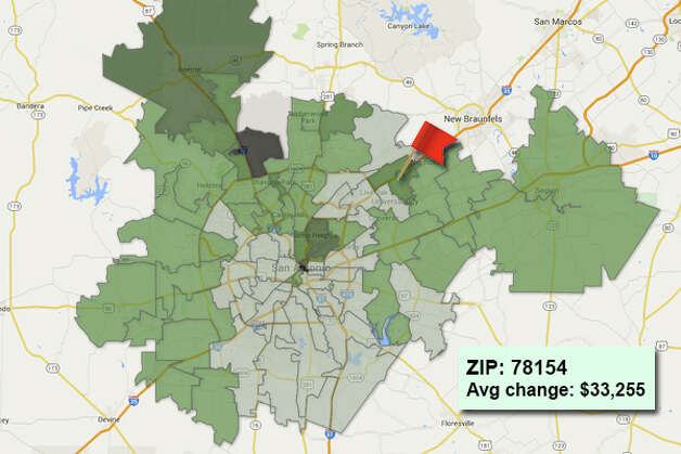 ZIP code: 78154 Data available from the Bexar Appraisal District shows how much the average residential value changed in each area ZIP code in 2015. Photo: Chris Eudaily Created Using Fusion Tables